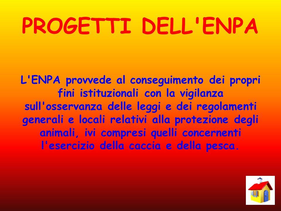 PROGETTI DELL'ENPA L'ENPA provvede al conseguimento dei propri fini istituzionali con la vigilanza sull'osservanza delle leggi e dei regolamenti gener