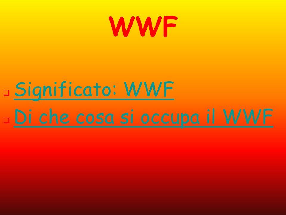 WWF Il WWF è la più grande organizzazione mondiale per la conservazione della natura, rappresentata in Italia dal WWF Italia.