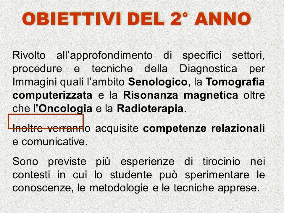 Rivolto allapprofondimento di specifici settori, procedure e tecniche della Diagnostica per Immagini quali lambito Senologico, la Tomografia computerizzata e la Risonanza magnetica oltre che lOncologia e la Radioterapia.