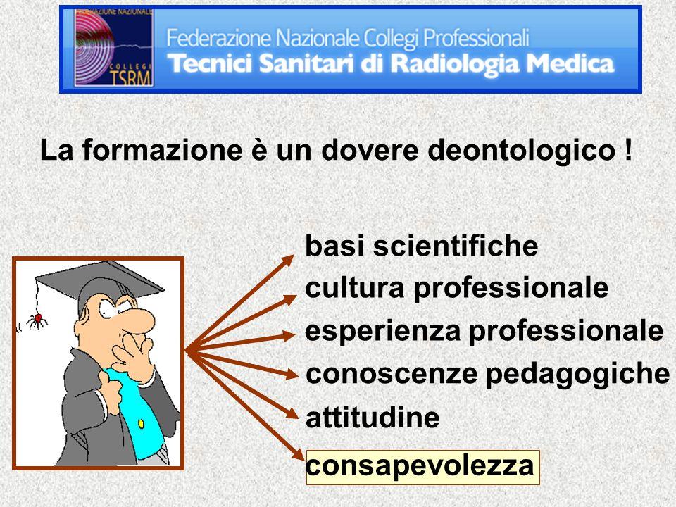 basi scientifiche cultura professionale esperienza professionale conoscenze pedagogiche attitudine consapevolezza La formazione è un dovere deontologico !