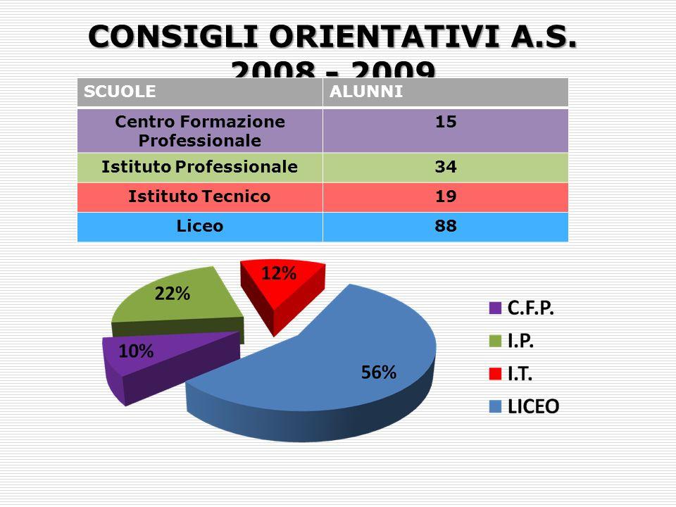 CONSIGLI ORIENTATIVI A.S. 2008 - 2009 SCUOLEALUNNI Centro Formazione Professionale 15 Istituto Professionale34 Istituto Tecnico19 Liceo88