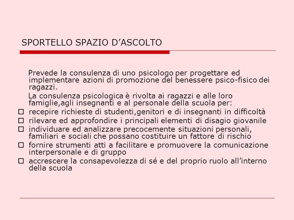 SPORTELLO SPAZIO DASCOLTO Prevede la consulenza di uno psicologo per progettare ed implementare azioni di promozione del benessere psico-fisico dei ra