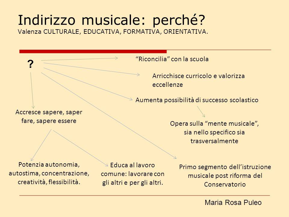 Indirizzo musicale: perché? Valenza CULTURALE, EDUCATIVA, FORMATIVA, ORIENTATIVA. Riconcilia con la scuola Arricchisce curricolo e valorizza eccellenz