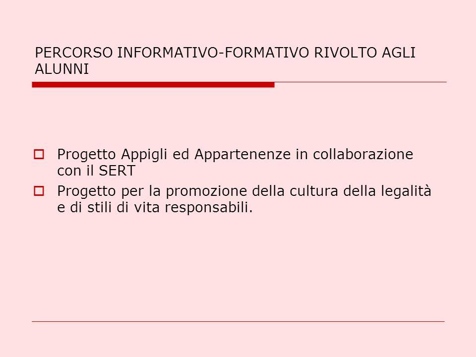 PERCORSO INFORMATIVO-FORMATIVO RIVOLTO AGLI ALUNNI Progetto Appigli ed Appartenenze in collaborazione con il SERT Progetto per la promozione della cul