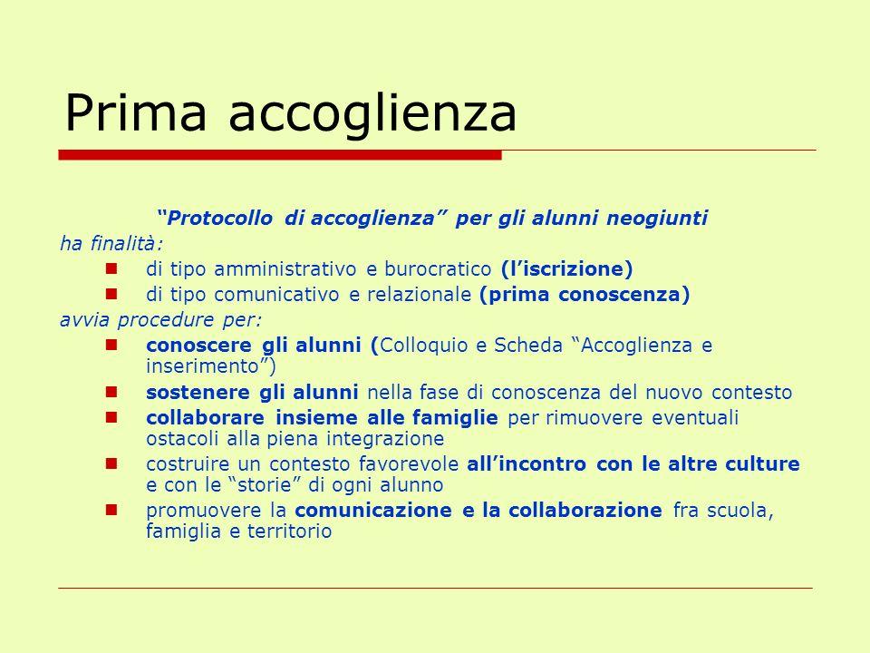 Prima accoglienza Protocollo di accoglienza per gli alunni neogiunti ha finalità: di tipo amministrativo e burocratico (liscrizione) di tipo comunicat
