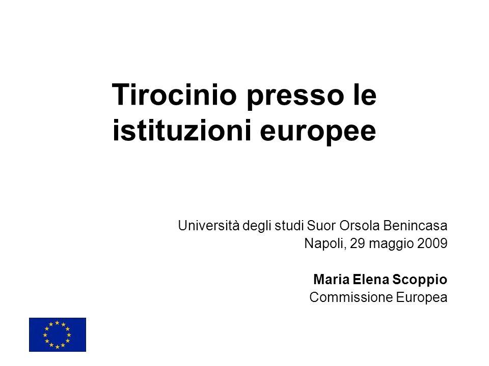 Tirocinio presso le istituzioni europee Università degli studi Suor Orsola Benincasa Napoli, 29 maggio 2009 Maria Elena Scoppio Commissione Europea
