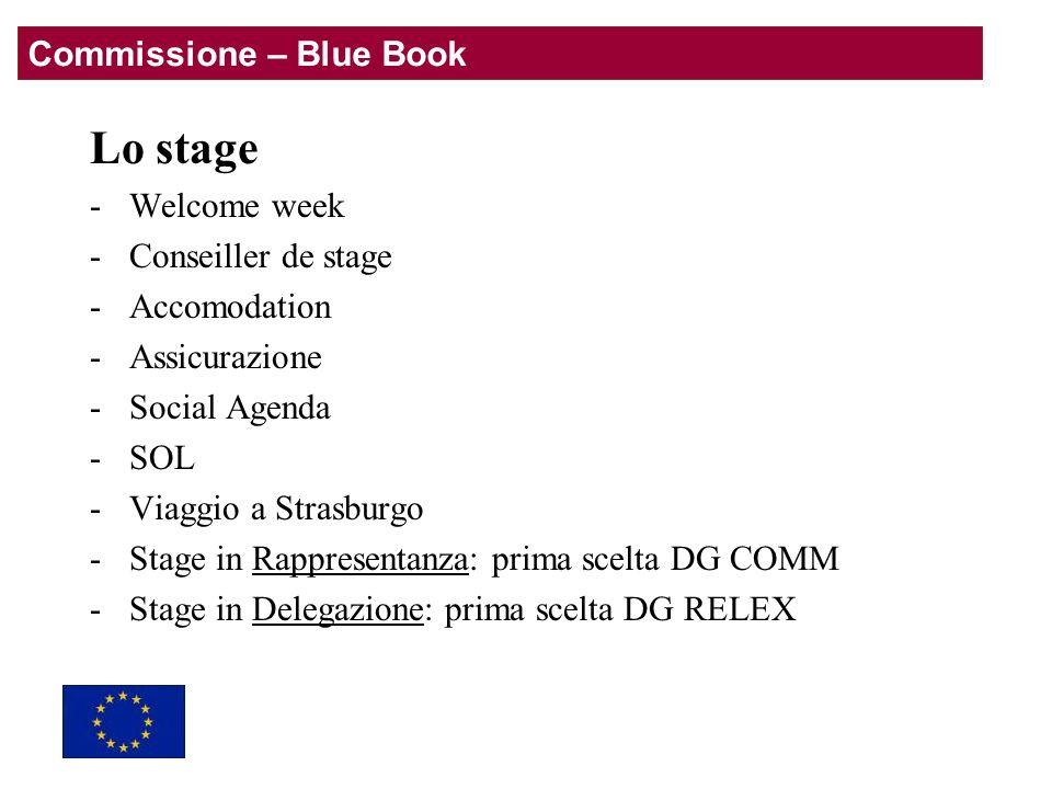 Lo stage -Welcome week -Conseiller de stage -Accomodation -Assicurazione -Social Agenda -SOL -Viaggio a Strasburgo -Stage in Rappresentanza: prima scelta DG COMM -Stage in Delegazione: prima scelta DG RELEX Commissione – Blue Book