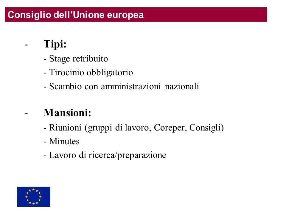 -Tipi: - Stage retribuito - Tirocinio obbligatorio - Scambio con amministrazioni nazionali -Mansioni: - Riunioni (gruppi di lavoro, Coreper, Consigli) - Minutes - Lavoro di ricerca/preparazione Consiglio dell Unione europea
