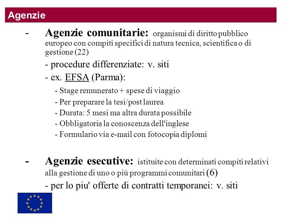 -Agenzie comunitarie: organismi di diritto pubblico europeo con compiti specifici di natura tecnica, scientifica o di gestione (22) - procedure differenziate: v.