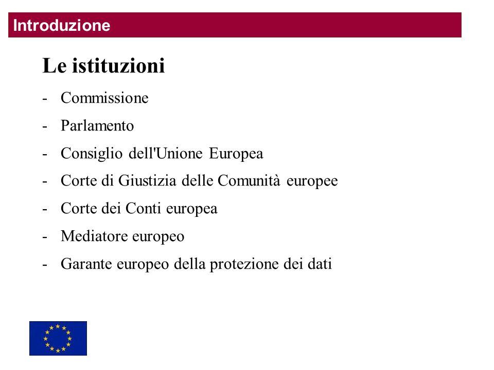 Le istituzioni -Commissione -Parlamento -Consiglio dell Unione Europea -Corte di Giustizia delle Comunità europee -Corte dei Conti europea -Mediatore europeo -Garante europeo della protezione dei dati Introduzione