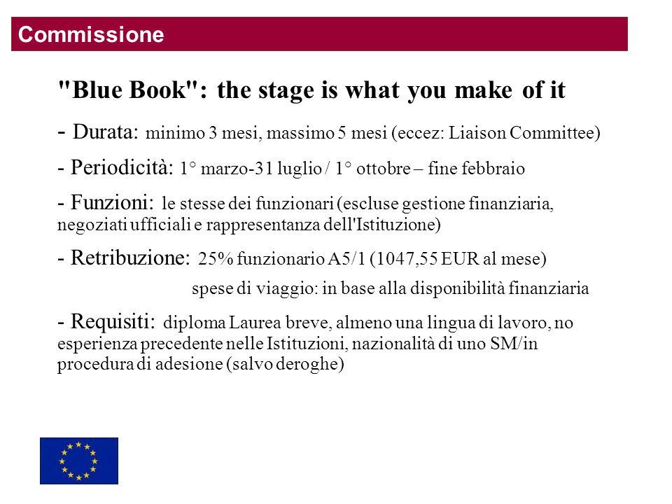 Blue Book : the stage is what you make of it - Durata: minimo 3 mesi, massimo 5 mesi (eccez: Liaison Committee) - Periodicità: 1° marzo-31 luglio / 1° ottobre – fine febbraio - Funzioni: le stesse dei funzionari (escluse gestione finanziaria, negoziati ufficiali e rappresentanza dell Istituzione) - Retribuzione: 25% funzionario A5/1 (1047,55 EUR al mese) spese di viaggio: in base alla disponibilità finanziaria - Requisiti: diploma Laurea breve, almeno una lingua di lavoro, no esperienza precedente nelle Istituzioni, nazionalità di uno SM/in procedura di adesione (salvo deroghe) Commissione