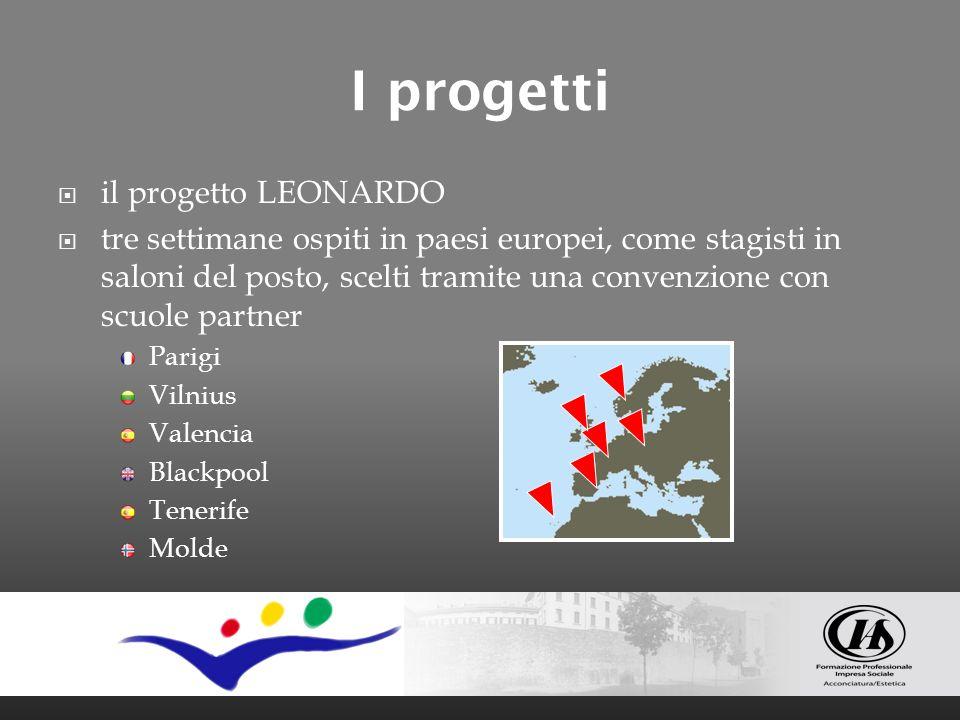 I progetti il progetto LEONARDO tre settimane ospiti in paesi europei, come stagisti in saloni del posto, scelti tramite una convenzione con scuole pa