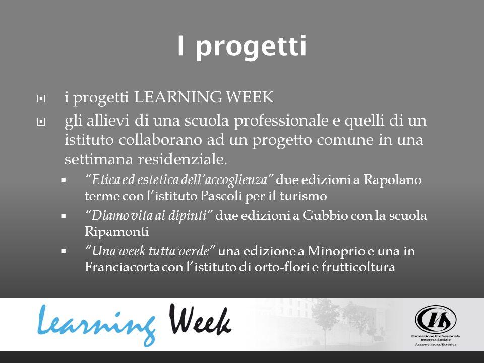 I progetti i progetti LEARNING WEEK gli allievi di una scuola professionale e quelli di un istituto collaborano ad un progetto comune in una settimana