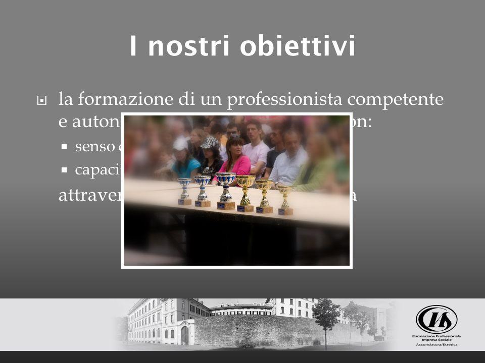 I nostri obiettivi la formazione di un professionista competente e autonomo nella propria attività con: senso critico capacità di scelte corrette attr
