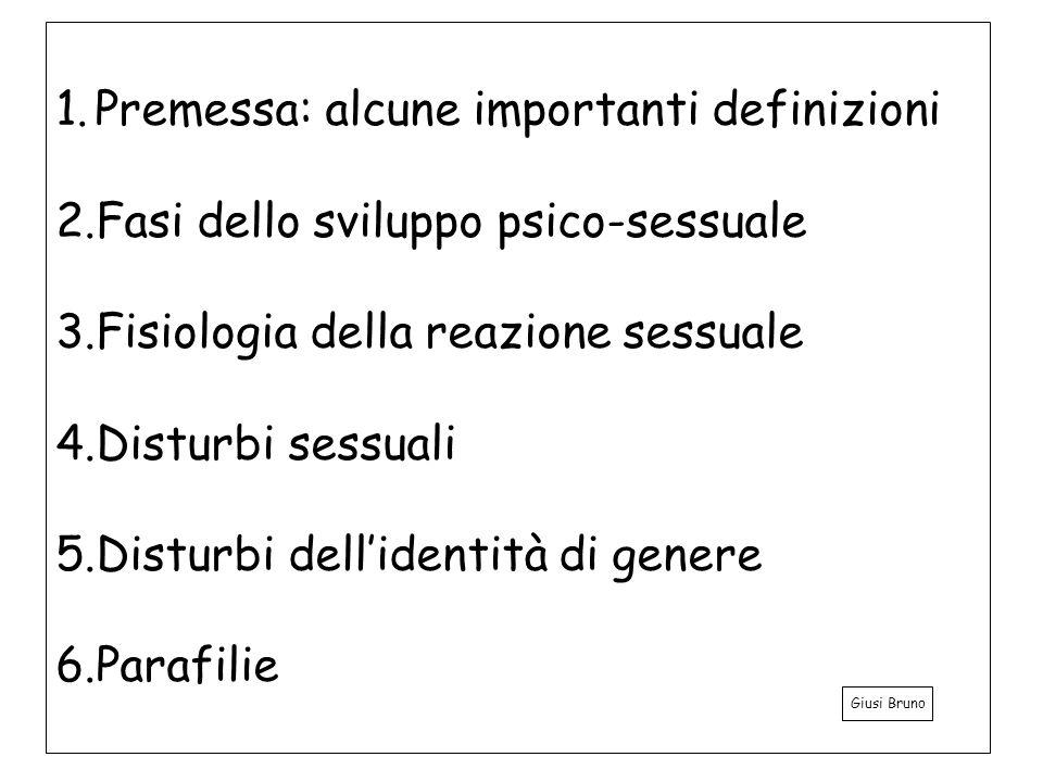1.Premessa: alcune importanti definizioni 2.Fasi dello sviluppo psico-sessuale 3.Fisiologia della reazione sessuale 4.Disturbi sessuali 5.Disturbi dellidentità di genere 6.Parafilie Giusi Bruno