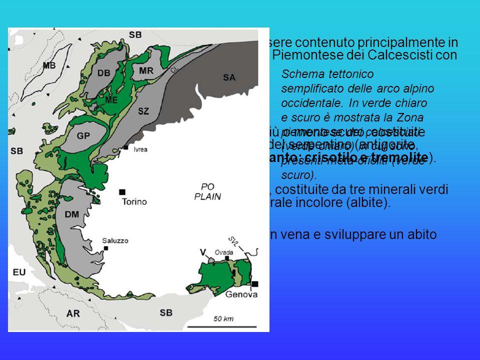 Nelle Alpi Occidentali, lamianto può essere contenuto principalmente in due tipi di rocce, appartenenti alla Zona Piemontese dei Calcescisti con Pietr