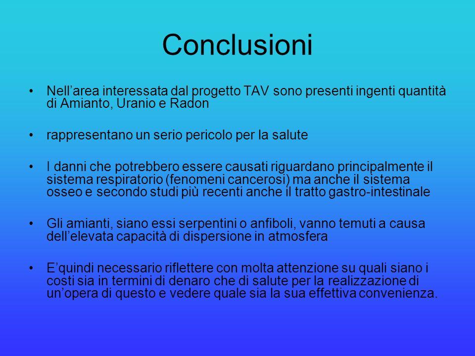 Conclusioni Nellarea interessata dal progetto TAV sono presenti ingenti quantità di Amianto, Uranio e Radon rappresentano un serio pericolo per la sal