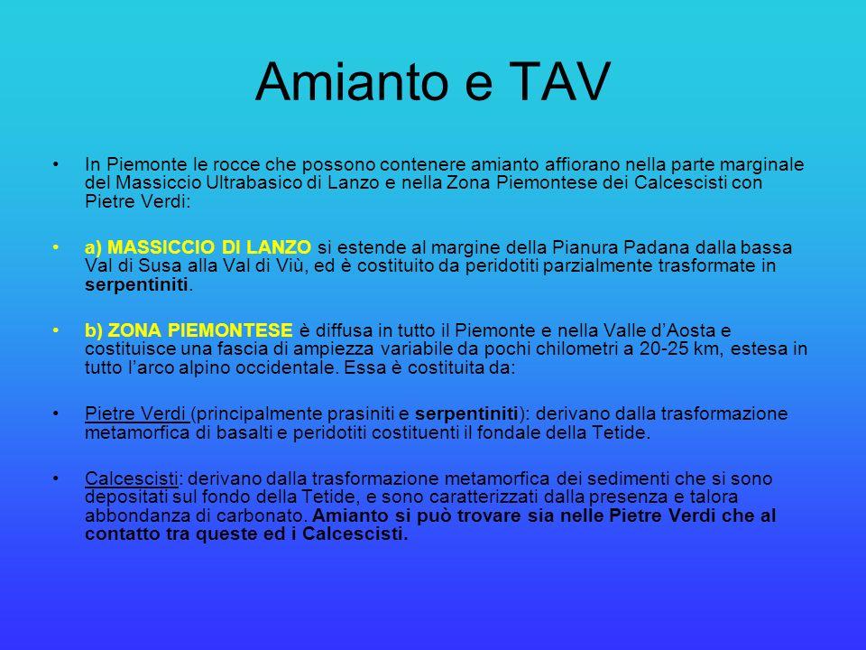 Amianto e TAV In Piemonte le rocce che possono contenere amianto affiorano nella parte marginale del Massiccio Ultrabasico di Lanzo e nella Zona Piemo