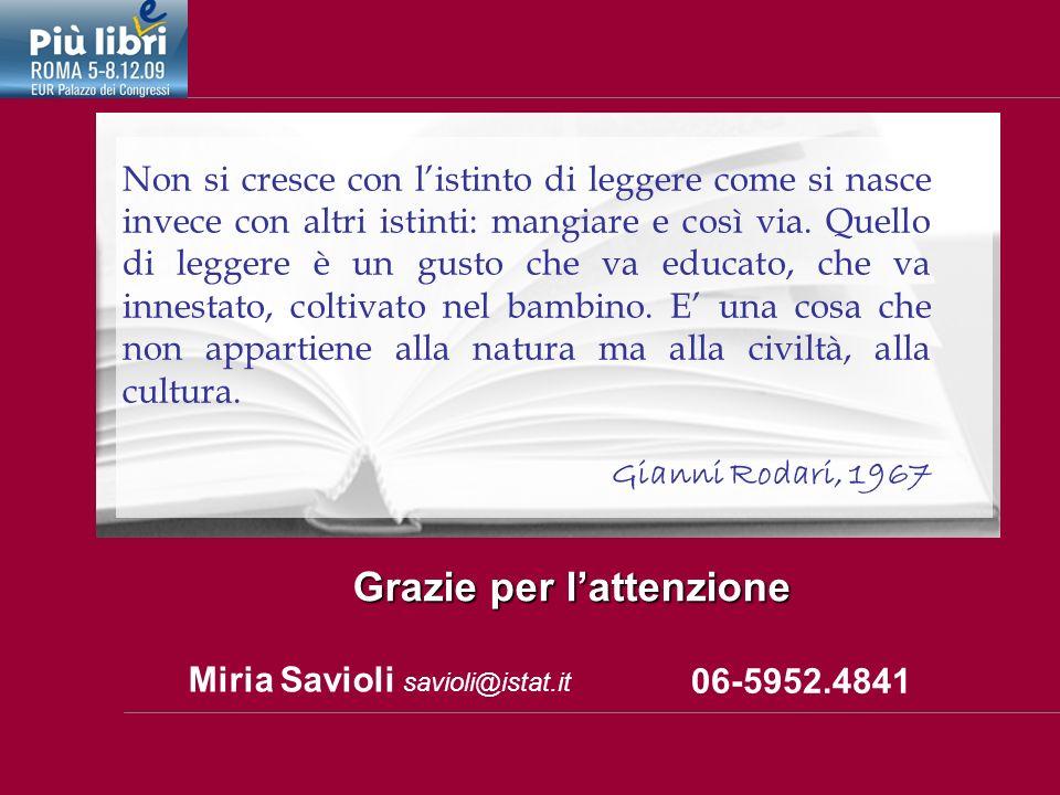 Miria Savioli savioli@istat.it Grazie per lattenzione 06-5952.4841 Non si cresce con listinto di leggere come si nasce invece con altri istinti: mangiare e così via.