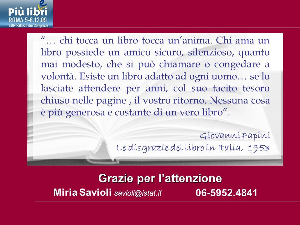 Miria Savioli savioli@istat.it Grazie per lattenzione 06-5952.4841 … chi tocca un libro tocca unanima.