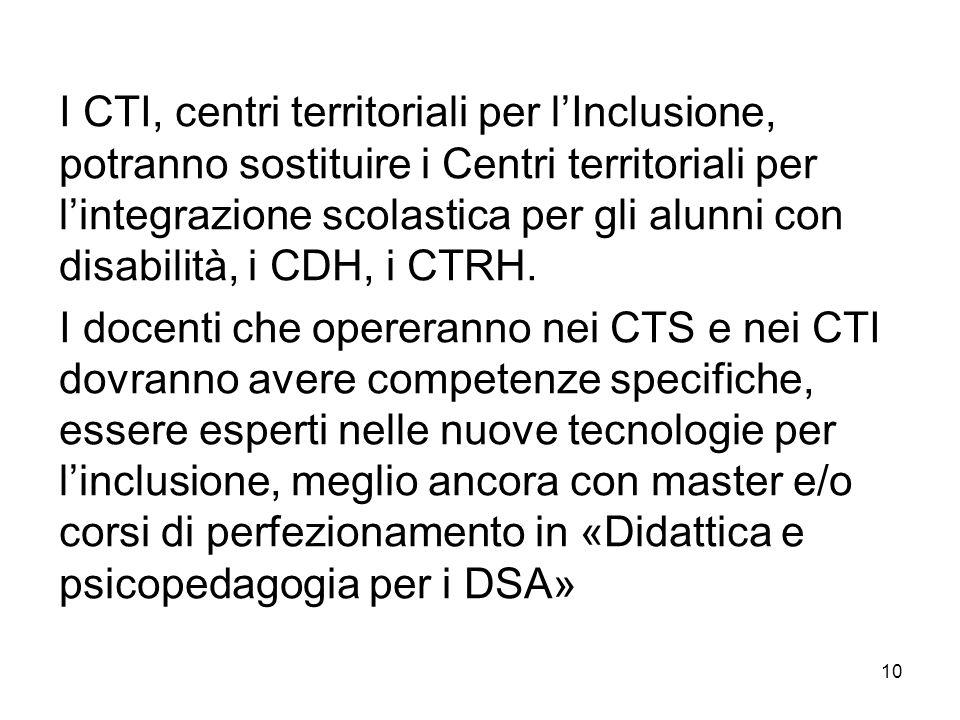 I CTI, centri territoriali per lInclusione, potranno sostituire i Centri territoriali per lintegrazione scolastica per gli alunni con disabilità, i CD