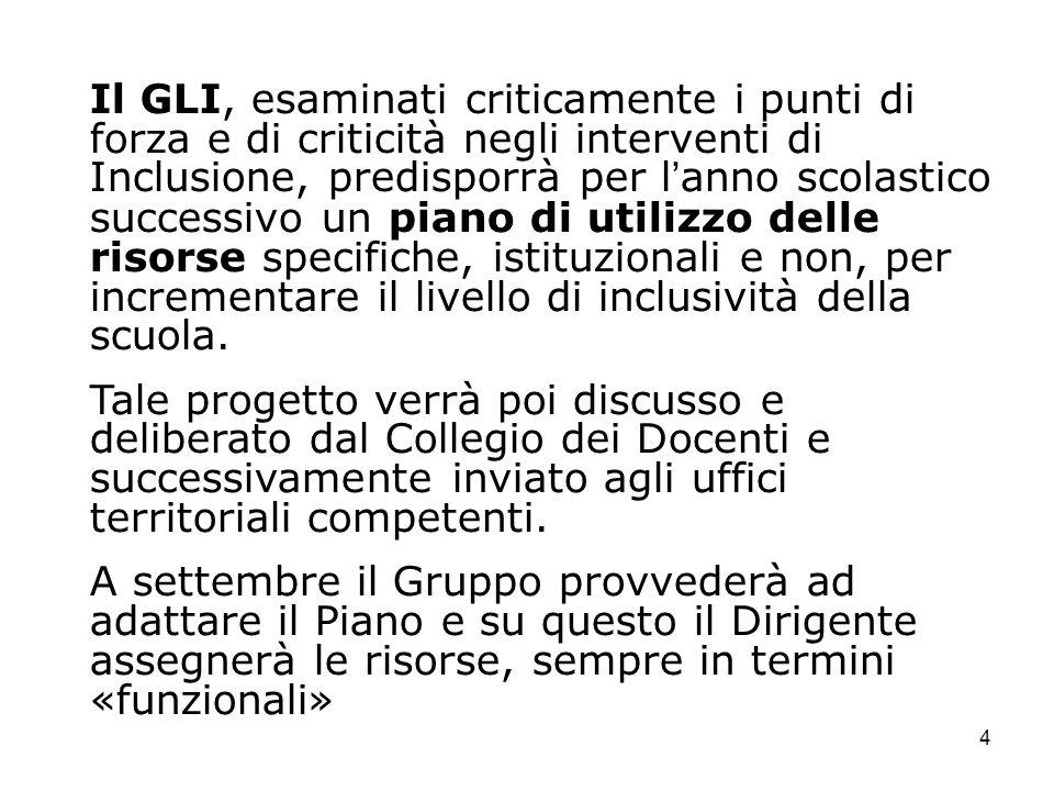 4 Il GLI, esaminati criticamente i punti di forza e di criticità negli interventi di Inclusione, predisporrà per lanno scolastico successivo un piano