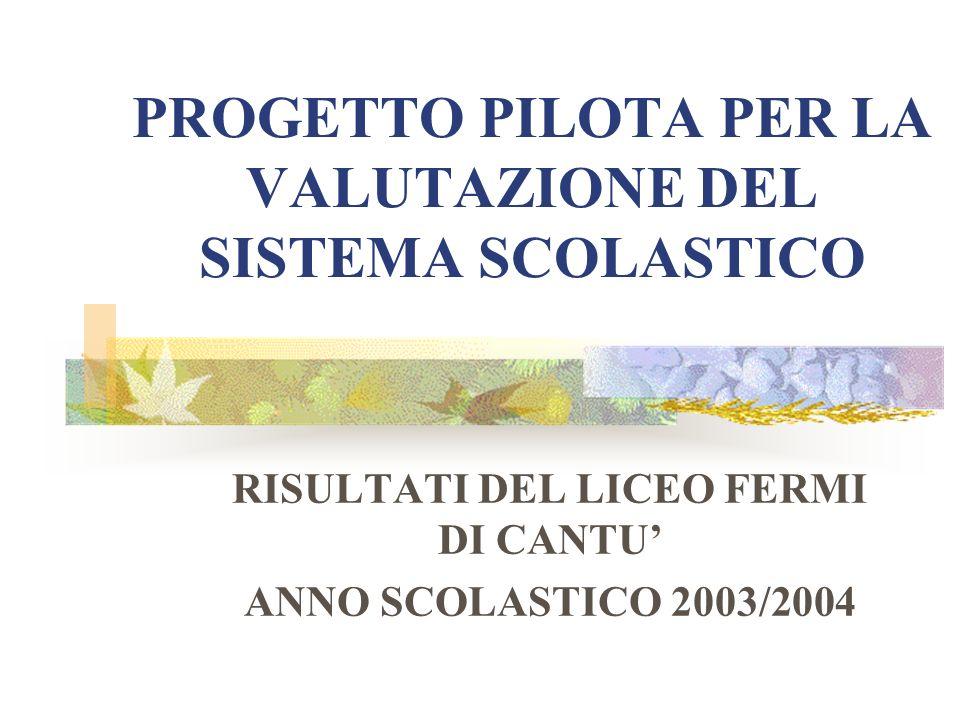 PROGETTO PILOTA PER LA VALUTAZIONE DEL SISTEMA SCOLASTICO RISULTATI DEL LICEO FERMI DI CANTU ANNO SCOLASTICO 2003/2004