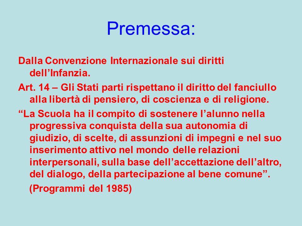 Premessa: Dalla Convenzione Internazionale sui diritti dellInfanzia. Art. 14 – Gli Stati parti rispettano il diritto del fanciullo alla libertà di pen