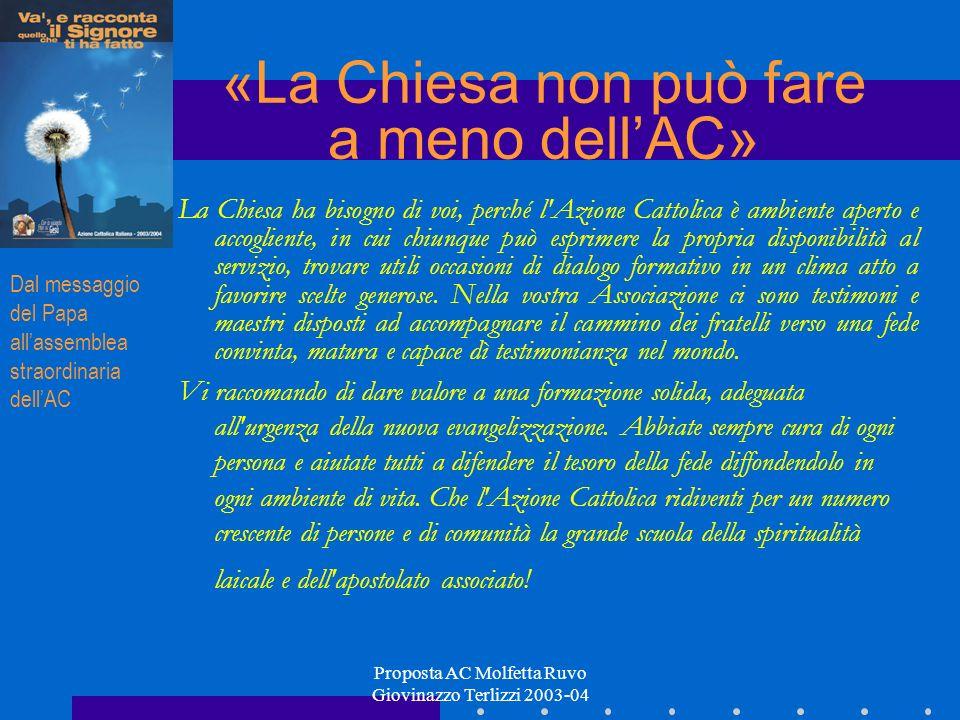 Proposta AC Molfetta Ruvo Giovinazzo Terlizzi 2003-04 La Chiesa ha bisogno di voi, perché l'Azione Cattolica è ambiente aperto e accogliente, in cui c
