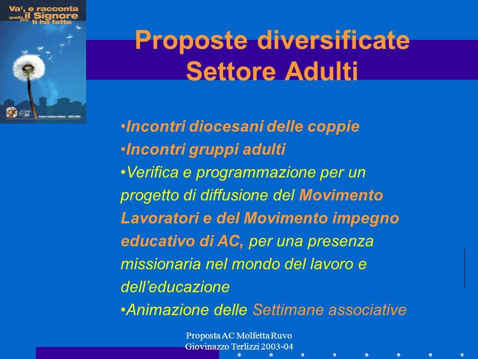Proposta AC Molfetta Ruvo Giovinazzo Terlizzi 2003-04 Proposte diversificate Settore Adulti Incontri diocesani delle coppie Incontri gruppi adulti Ver