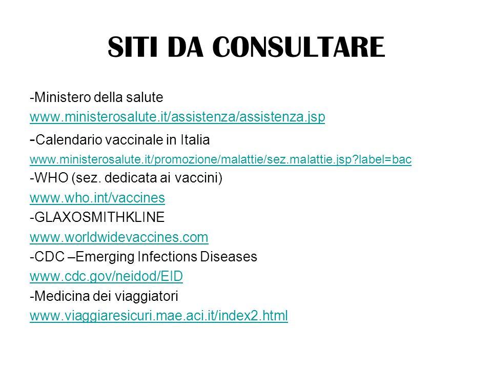 -Ministero della salute www.ministerosalute.it/assistenza/assistenza.jsp - Calendario vaccinale in Italia www.ministerosalute.it/promozione/malattie/s
