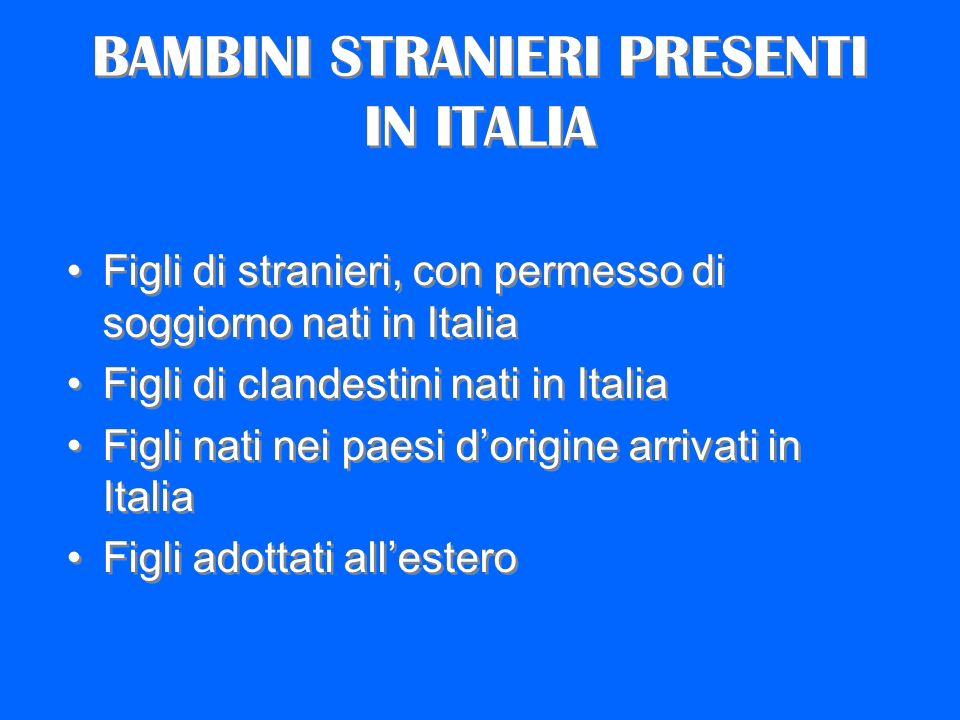 BAMBINI STRANIERI PRESENTI IN ITALIA Figli di stranieri, con permesso di soggiorno nati in Italia Figli di clandestini nati in Italia Figli nati nei p
