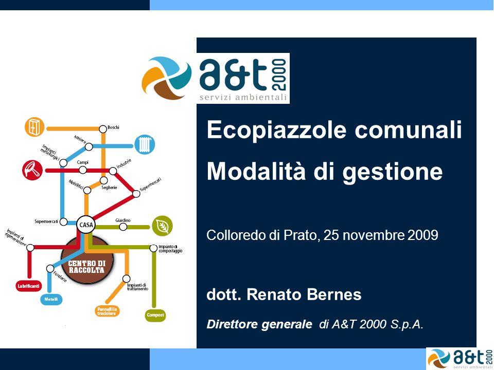 Ecopiazzole comunali Modalità di gestione Colloredo di Prato, 25 novembre 2009 dott. Renato Bernes Direttore generale di A&T 2000 S.p.A.