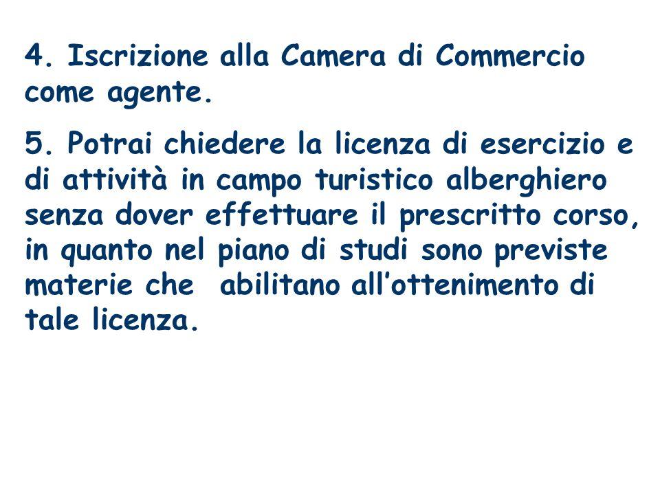 4. Iscrizione alla Camera di Commercio come agente.