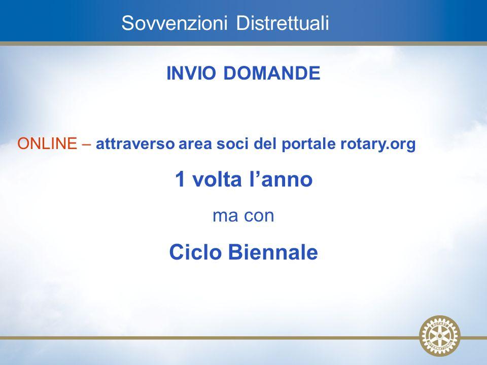 11 Sovvenzioni Distrettuali INVIO DOMANDE ONLINE – attraverso area soci del portale rotary.org 1 volta lanno ma con Ciclo Biennale