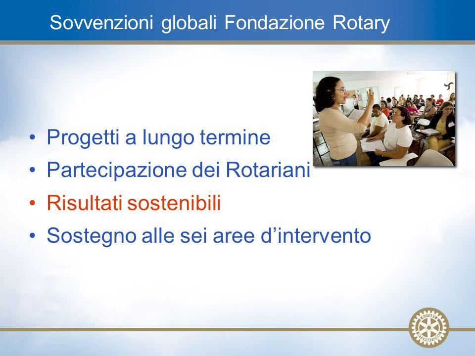 12 Sovvenzioni globali Fondazione Rotary Progetti a lungo termine Partecipazione dei Rotariani Risultati sostenibili Sostegno alle sei aree dintervent