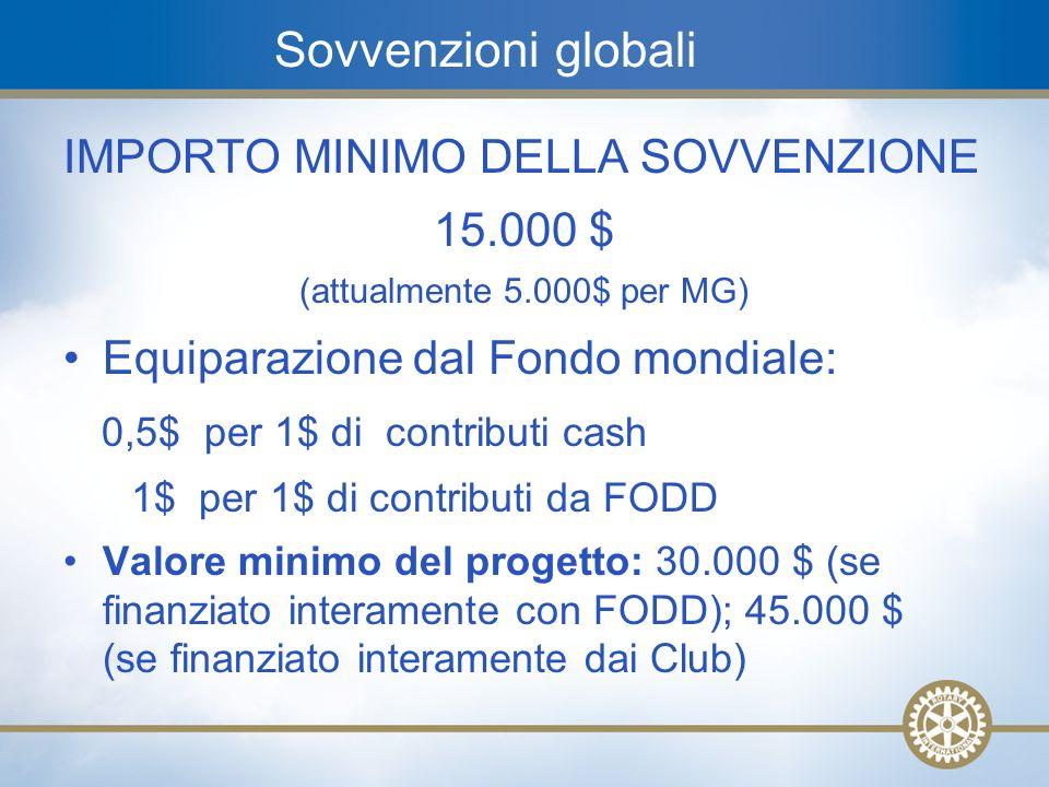 13 Sovvenzioni globali IMPORTO MINIMO DELLA SOVVENZIONE 15.000 $ (attualmente 5.000$ per MG) Equiparazione dal Fondo mondiale: 0,5$ per 1$ di contribu