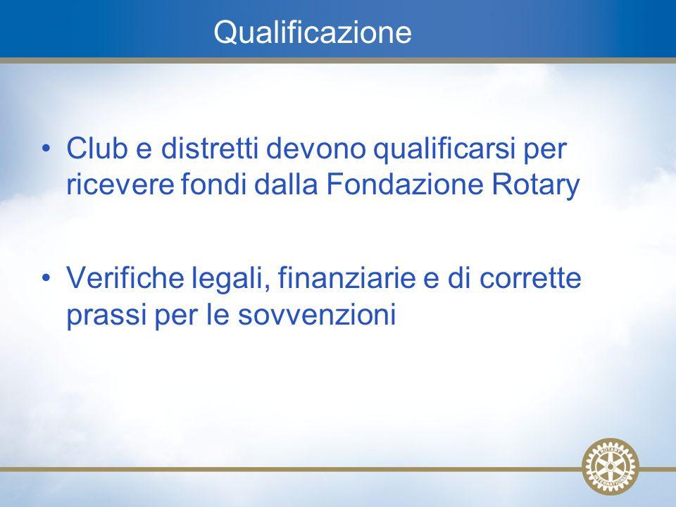 16 Qualificazione Club e distretti devono qualificarsi per ricevere fondi dalla Fondazione Rotary Verifiche legali, finanziarie e di corrette prassi p