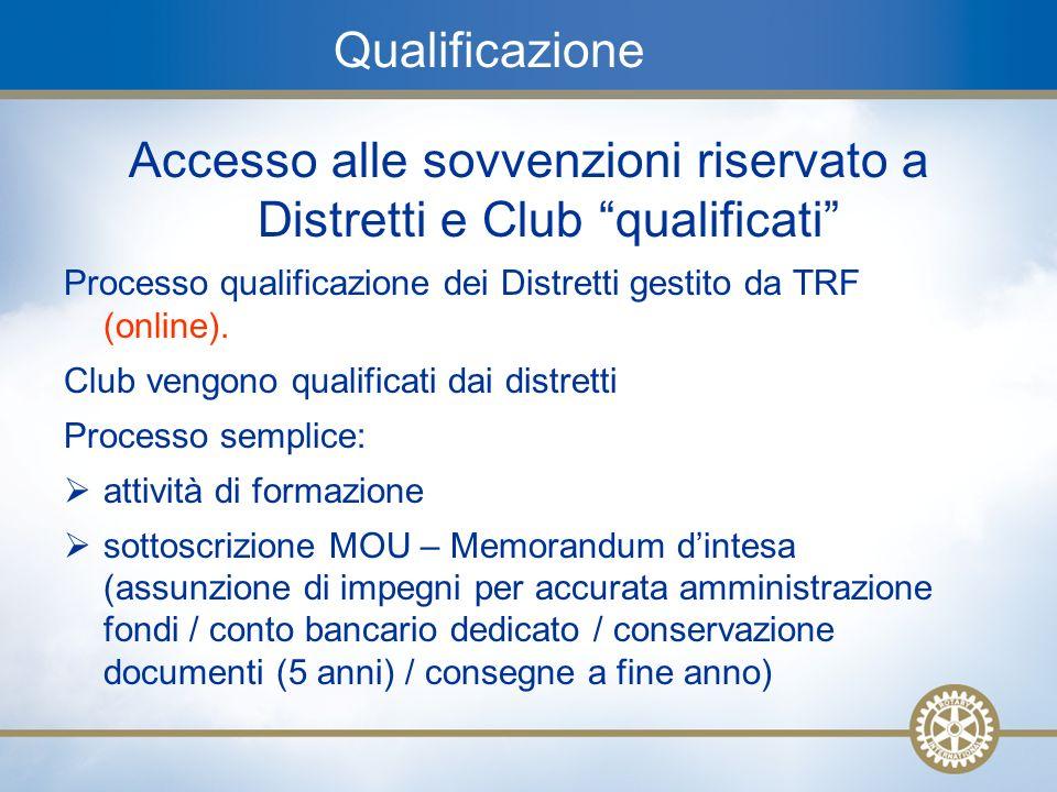 17 Qualificazione Accesso alle sovvenzioni riservato a Distretti e Club qualificati Processo qualificazione dei Distretti gestito da TRF (online). Clu