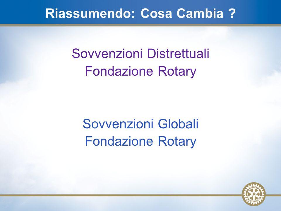 19 Sovvenzioni Distrettuali Fondazione Rotary Sovvenzioni Globali Fondazione Rotary Riassumendo: Cosa Cambia ?