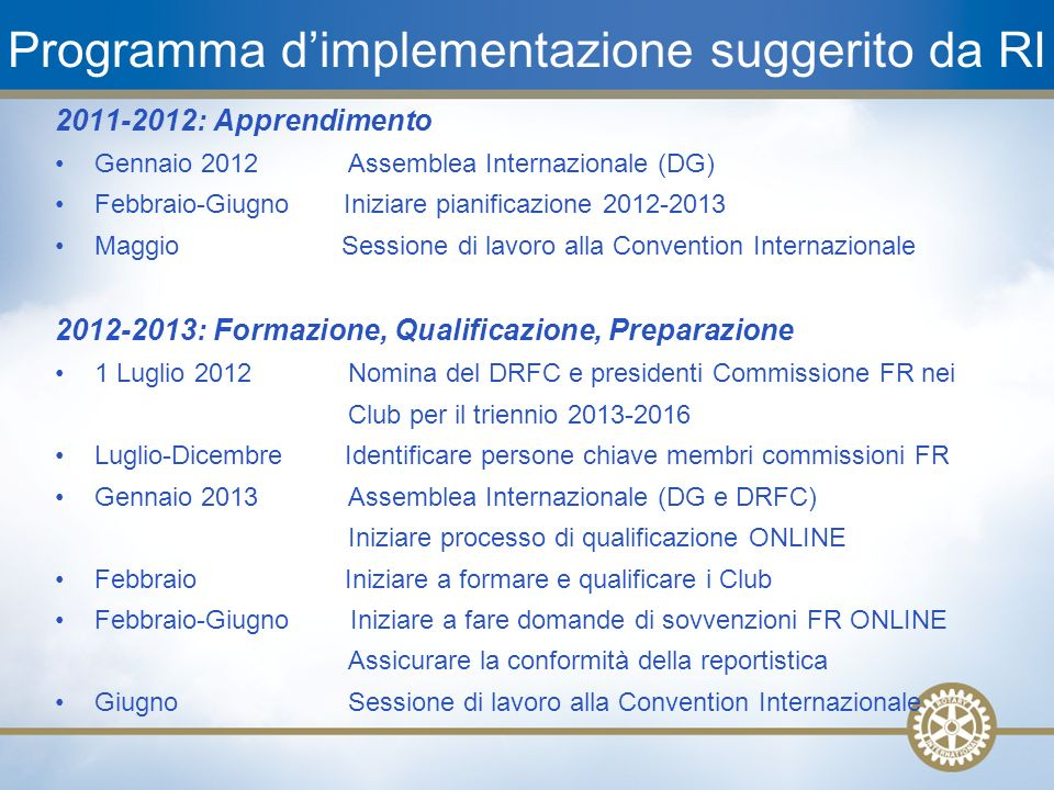 22 Programma dimplementazione suggerito da RI 2011-2012: Apprendimento Gennaio 2012 Assemblea Internazionale (DG) Febbraio-Giugno Iniziare pianificazi