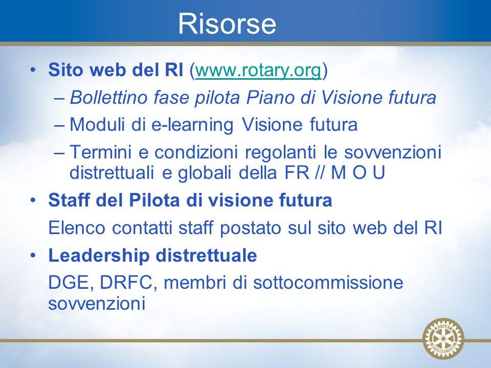 26 Risorse Sito web del RI (www.rotary.org)www.rotary.org –Bollettino fase pilota Piano di Visione futura –Moduli di e-learning Visione futura –Termin