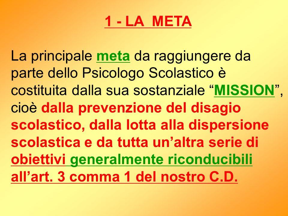 1 - LA META La principale meta da raggiungere da parte dello Psicologo Scolastico è costituita dalla sua sostanziale MISSION, cioè dalla prevenzione d