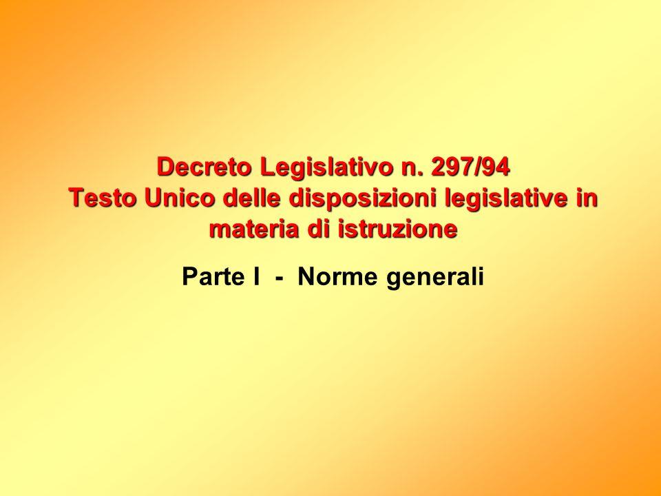 Decreto Legislativo n. 297/94 Testo Unico delle disposizioni legislative in materia di istruzione Decreto Legislativo n. 297/94 Testo Unico delle disp