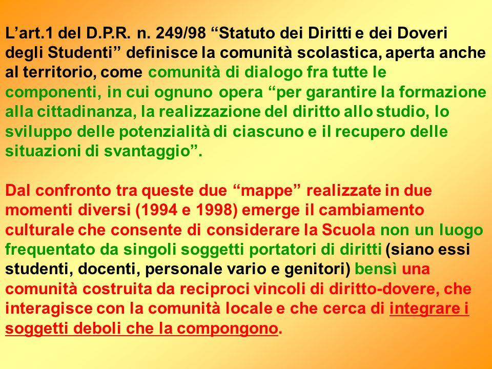 Lart.1 del D.P.R. n. 249/98 Statuto dei Diritti e dei Doveri degli Studenti definisce la comunità scolastica, aperta anche al territorio, come comunit