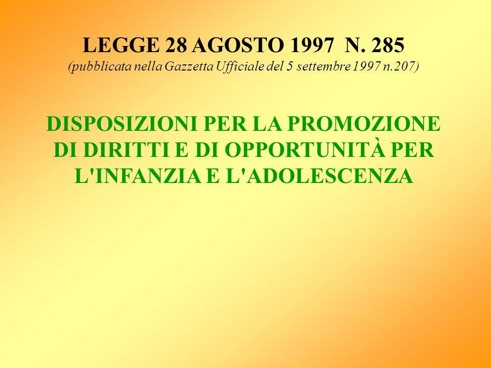 LEGGE 28 AGOSTO 1997 N. 285 (pubblicata nella Gazzetta Ufficiale del 5 settembre 1997 n.207) DISPOSIZIONI PER LA PROMOZIONE DI DIRITTI E DI OPPORTUNIT