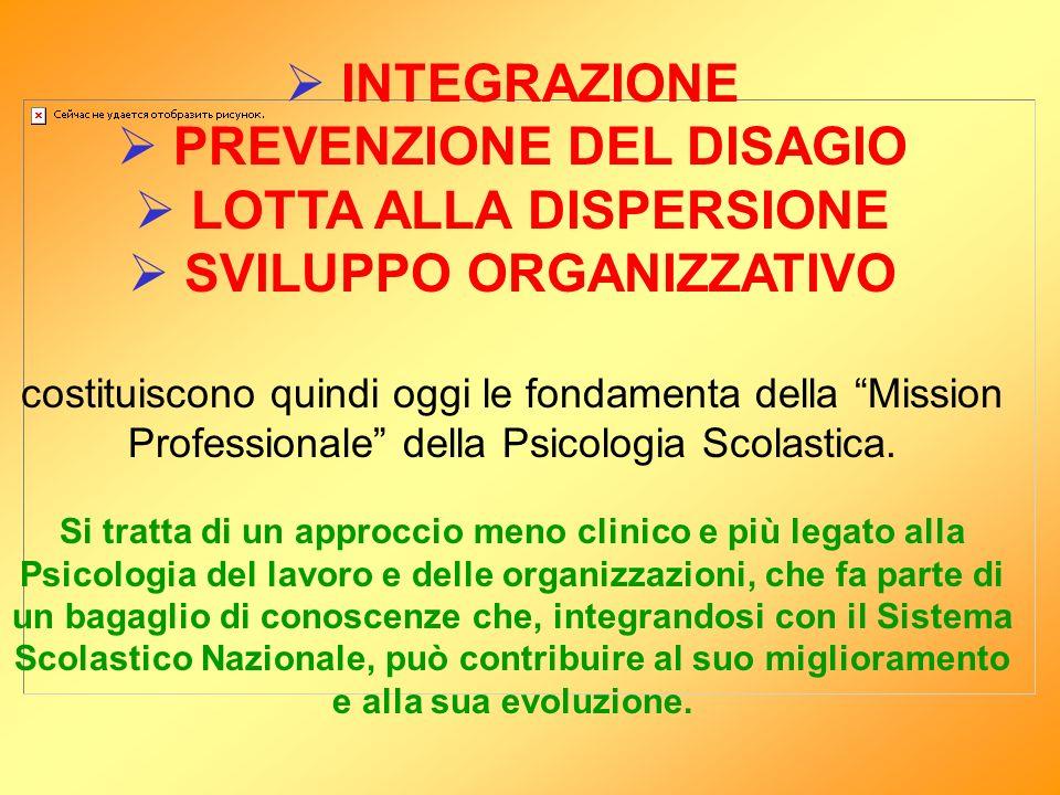 INTEGRAZIONE PREVENZIONE DEL DISAGIO LOTTA ALLA DISPERSIONE SVILUPPO ORGANIZZATIVO costituiscono quindi oggi le fondamenta della Mission Professionale