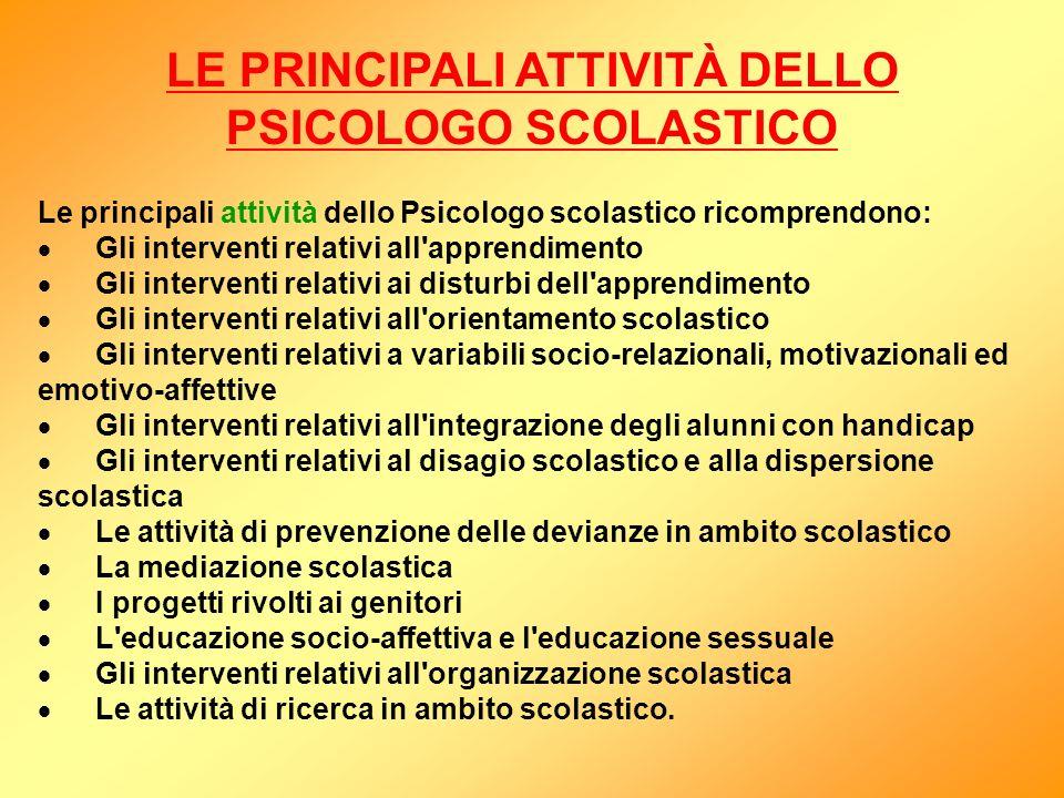 LE PRINCIPALI ATTIVITÀ DELLO PSICOLOGO SCOLASTICO Le principali attività dello Psicologo scolastico ricomprendono: Gli interventi relativi all'apprend