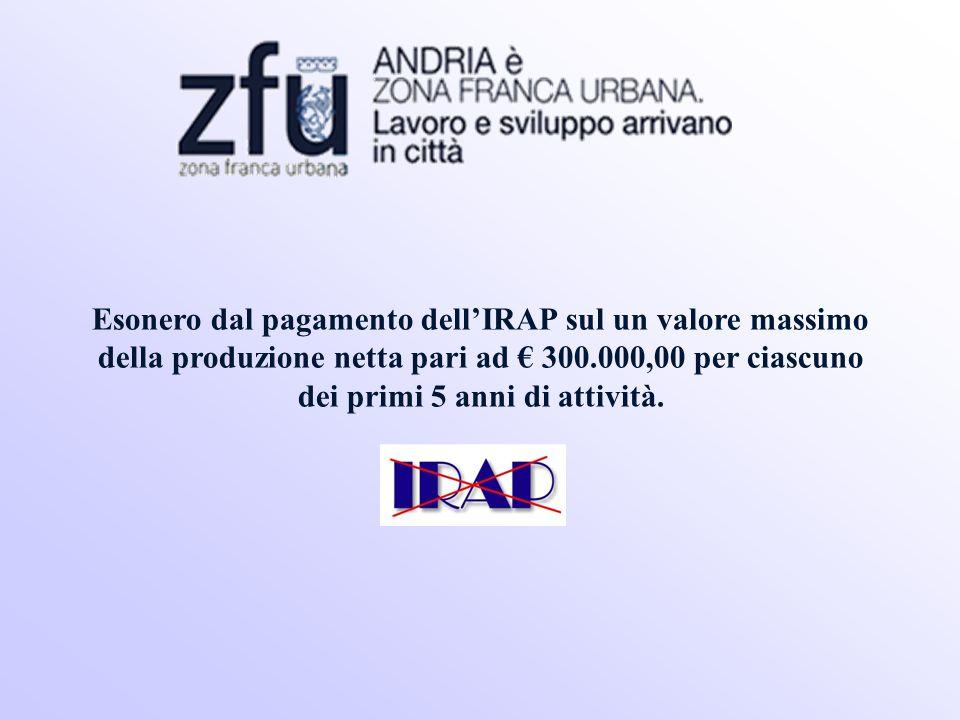 Esonero dal pagamento dellIRAP sul un valore massimo della produzione netta pari ad 300.000,00 per ciascuno dei primi 5 anni di attività.