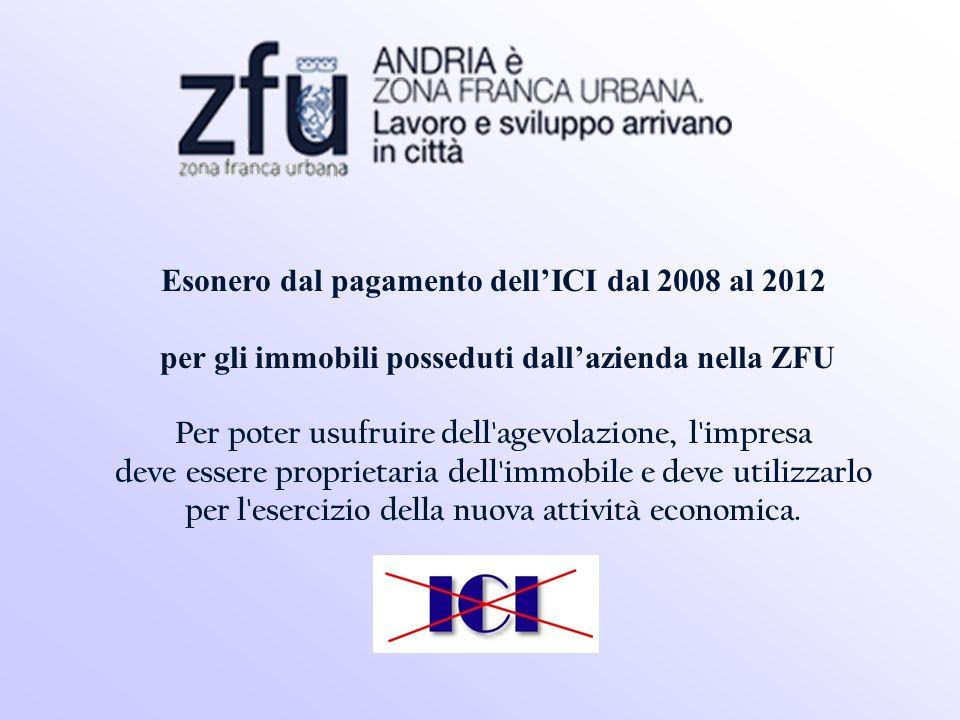 Esonero dal pagamento dellICI dal 2008 al 2012 per gli immobili posseduti dallazienda nella ZFU Per poter usufruire dell agevolazione, l impresa deve essere proprietaria dell immobile e deve utilizzarlo per l esercizio della nuova attività economica.